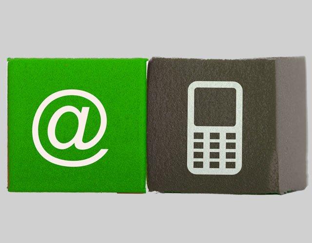 Kontakt per eMail und Handy